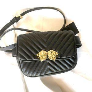 Zara black belt bag lion head detail black
